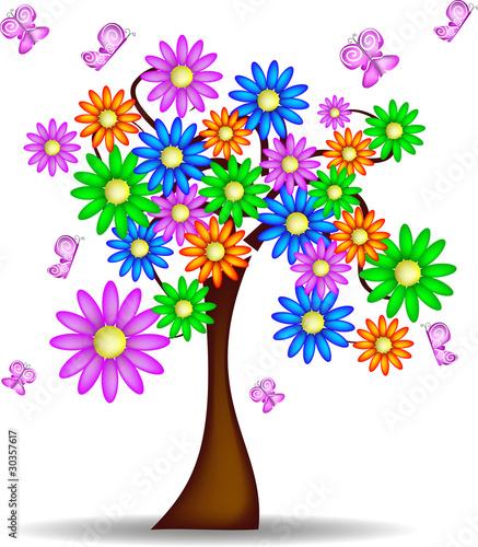 Albero primaverile con fiori e farfalle immagini e for Scarica clipart
