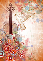 Violin, music sheets, flying doves on the color paint background