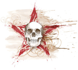 Poster Watercolor Skull Skull sketch & red grunge star, floral calligraphy ornament, wat