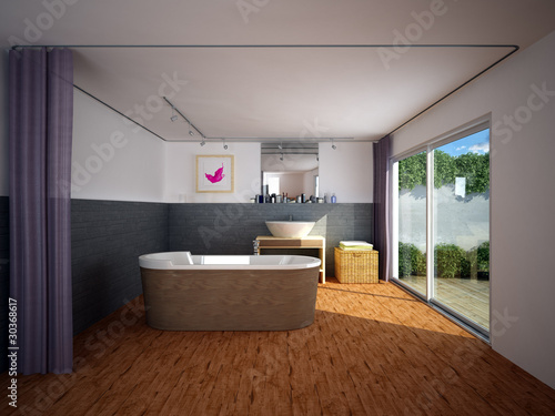 Badezimmer modern Schiefer\