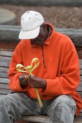 Elderly African American Man Working