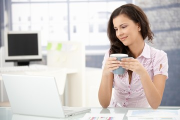 Attractive woman browsing internet in office