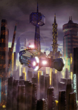futuristic city and flying car