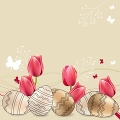 Easter greeting card with eggs and red tulips