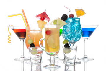 Tropical Cocktails garnished composition martini margarita