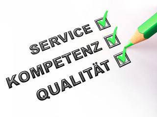 Schild Service-Kompetenz-Qualität grün