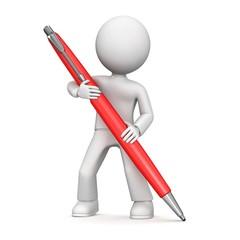 3D cartoon man holding a pen