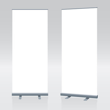 Vector blank roll up banner display template for designers