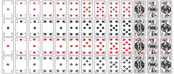 Spielkarten herz, karo, pik, kreuz set