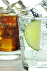 The sweet cooled drinks with ice, close up