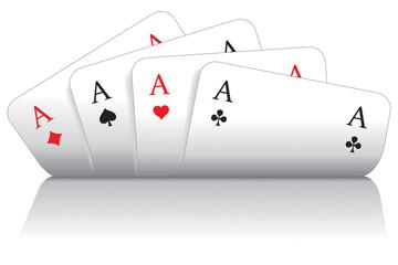 Spielkarten herz, karo, pik, kreuz As