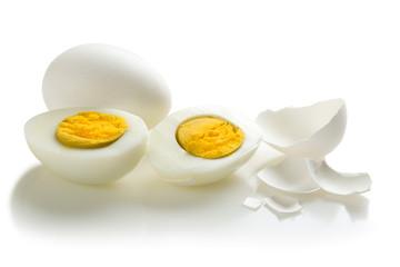Two halves of boiled egg
