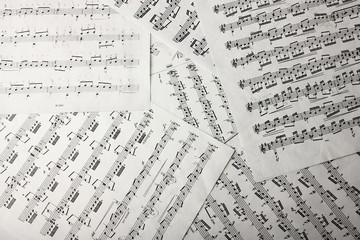 View of music notes on paper sheets