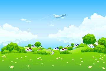 Poster Airplanes, balloon Green Landscape with aircraft