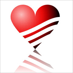 bright red heart vector