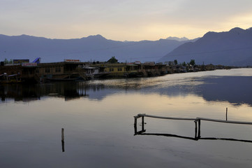 Empty dock on the Dal Lake in Srinagar