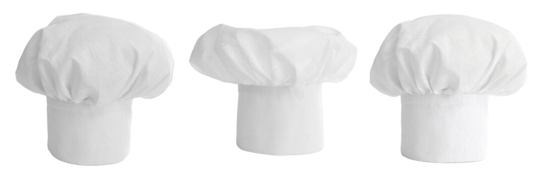 set of cook hat or cap isolated