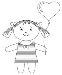 Girl with heart balloon, contour