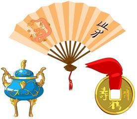 Set of traditional Chinese symbols.