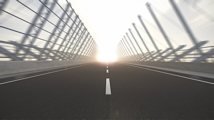 drive into sunset on bridge road