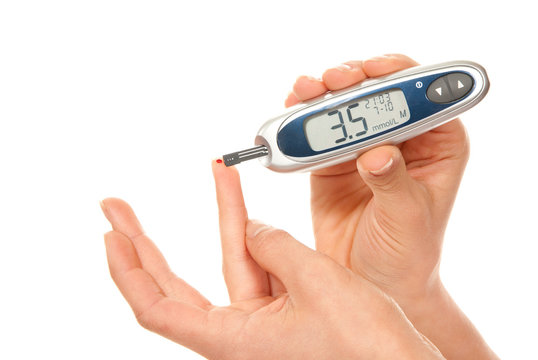 Diabetes patient measure glucose level blood test