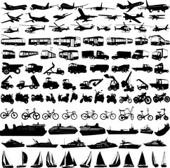 transportation silhouettes collection 2 - vector