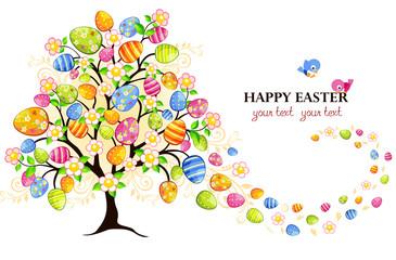 Albero con fiori e uova di Pasqua