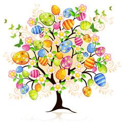 Albero di Pasqua con decori e uova