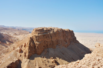 Scenic view of Masada stronghold, Dead Sea, Israel.