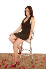 Woman dress stool roses