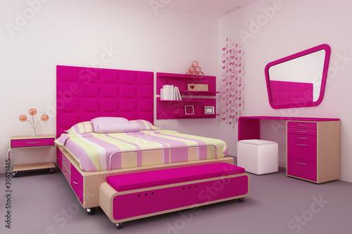 Tierna recamara de ni a en color rosa fotos de archivo e for Recamaras rosas