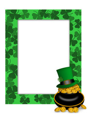 St Patricks Day Leprechaun Hat Pot of Gold Frame