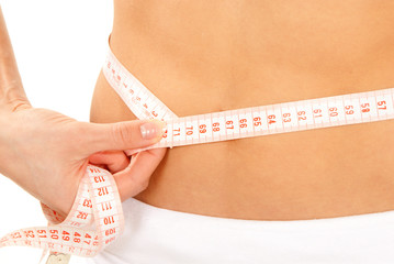 Athletic fit slim female measuring around her waist