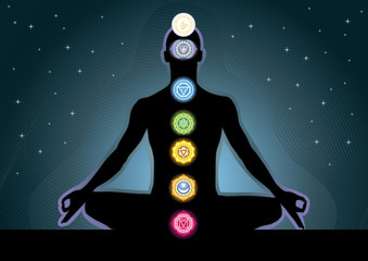The location of the chakras on the human body, vector image