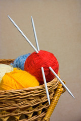 Balls with thread for knitting