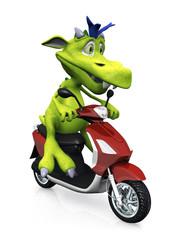 Keuken foto achterwand Motorfiets Cute cartoon monster on a scooter.