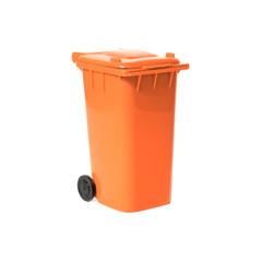 orange empty recycling bin