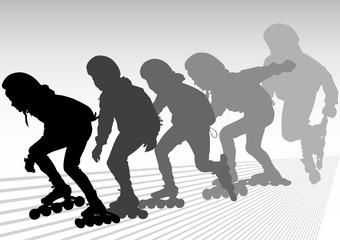 Skates boy running