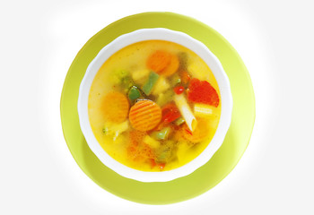 vegetable soup in a bright plate