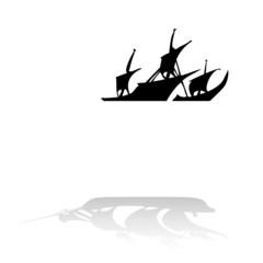pirate ship black on white backround