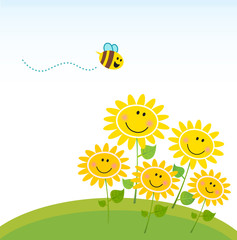 Cute yellow honey bee with group of flowers. Vector