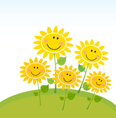 Happy yellow Spring Sunflowers in Garden. Vector