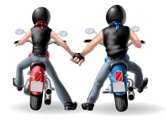 Wall Mural - coppia bikers