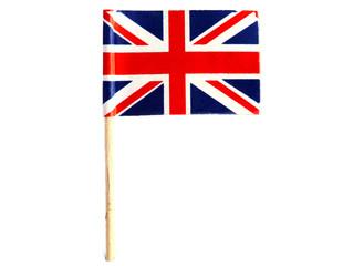 close-up british flag isolated on white