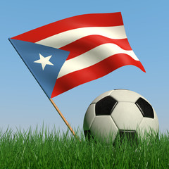 Soccer ball in the grass and the flag of Puerto-Rico
