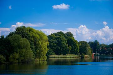 Pond in the town Telč, Czech republic