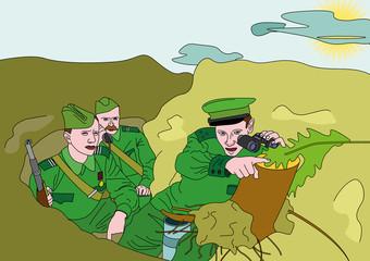 Keuken foto achterwand Militair Soldiers_with_binoculars