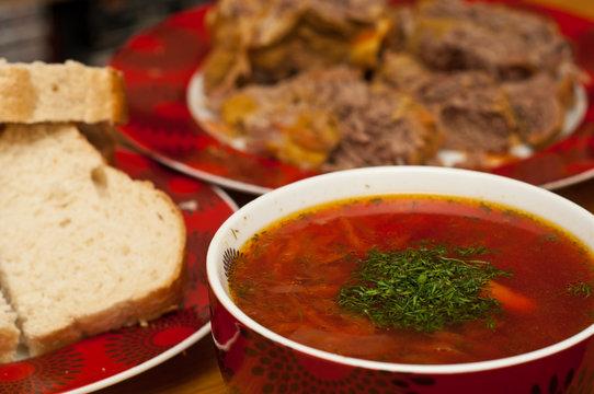closeup of russian traditional borscht