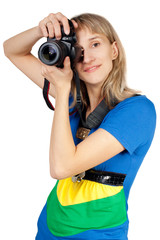 A young woman with a camera