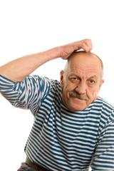 The elderly man isolated on white background